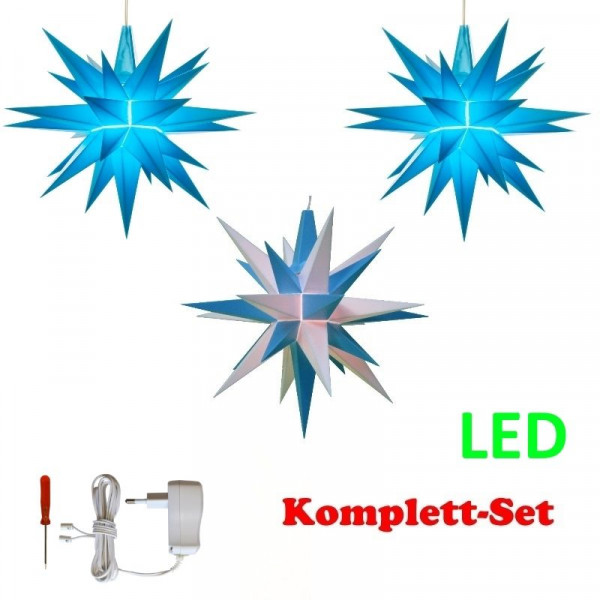 Herrnhuter Adventsstern Komplettset 3 Stück A1E mit Netzteil Farben blau, weiß-blau, blau mit Netzgerät 500 mA