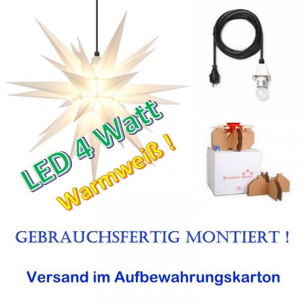 Herrnhuter Adventsstern Außenstern 68 cm Weiß mit LED + 5m Zuleitung gebrauchsfertig montiert im Aufbewahrungskarton