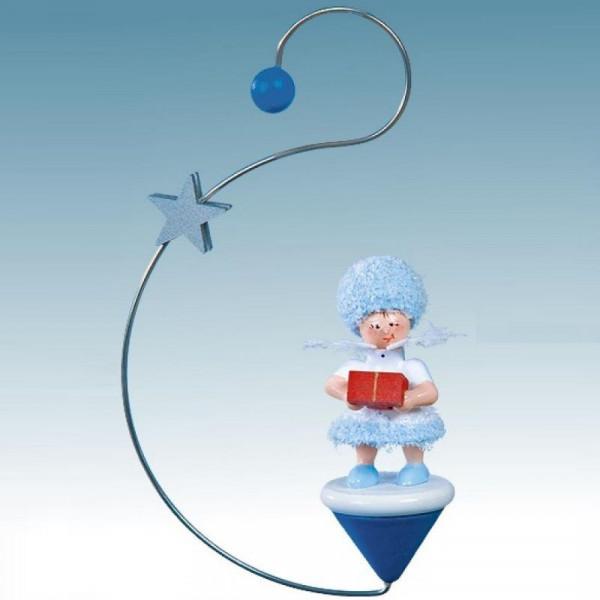 Schneeflöckchen mit Geschenkpäckchen, Artikel 43446 Baumschmuck ca. 120 x 70 x 30 mm