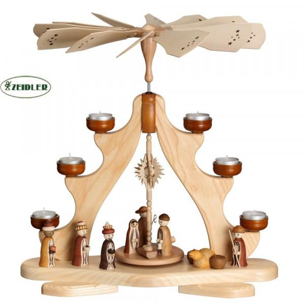 Pyramide mit Christi Geburt, Esche natur, für 6 Teelichter