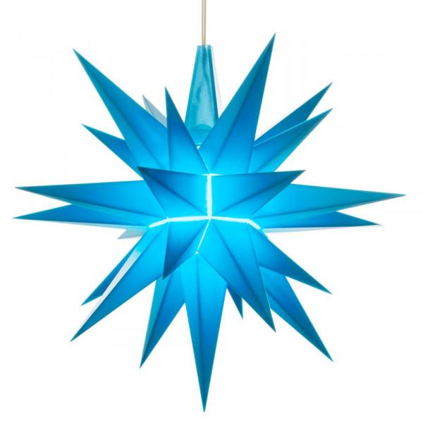 Herrnhuter Adventsstern Kunststoff 13 cm Blau mit LED ! Fertig montiert mit Beleuchtung