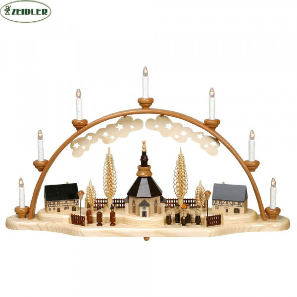 Seiffener Kirche mit Kurrende u. Laternenkinder, 7 Kerzen