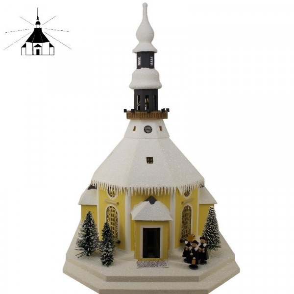 Erzgebirgisches Lichterhaus Seiffener Kirche m.Kurrende