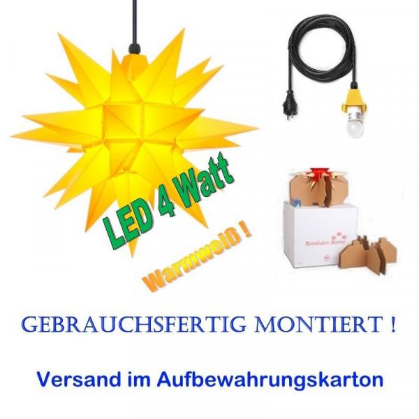 Herrnhuter Adventsstern Außenstern 40 cm Gelb mit LED+ 5m Zuleitung gebrauchsfertig montiert im Aufbewahrungskarton