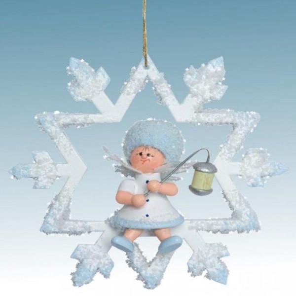 Schneeflöckchen mit Lampion, Artikel 43453 Baumschmuck, Maße ca. 70 x 70 x 40 mm