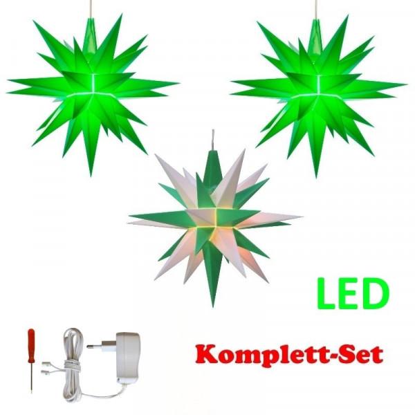 Herrnhuter Adventsstern Komplettset 3 Stück A1E mit Netzteil Farben grün, weiß-grün, grün mit Netzgerät 500 mA