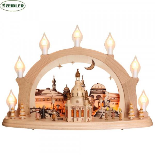 """Schwibbogen """"Dresdner Frauenkirche"""" - elektrisch, 7 Kerzen"""