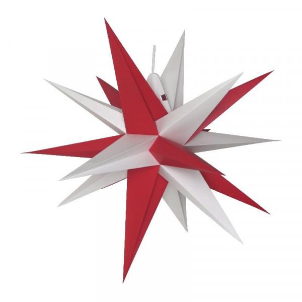 Annaberger Faltstern Nr. 5 (58 cm) rote+ weiße Spitzen